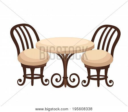Round Dinner Table For Two With White Cloth And Red Wooden Chairs. Flat Style Illustration. Web Site