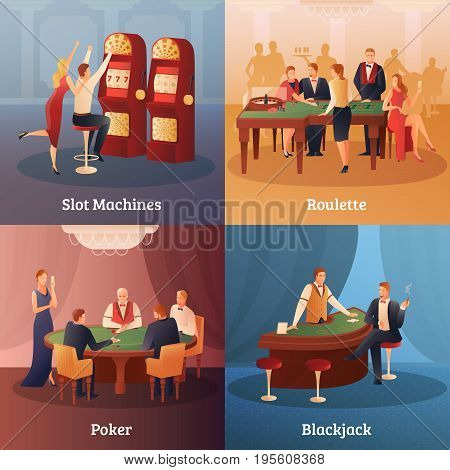 Casino and gambling concept icons set with roulette symbols flat isolated vector illustration