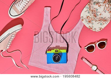 Summer Hipster Girl Accessories Set. Fashion Design. Film Camera, Trendy Sneakers, fashion Sunglasses. Hot Summer Sunny Vibes. Creative Bright Sweet Style. Vanilla Pink Pastel Color. Minimal, Art