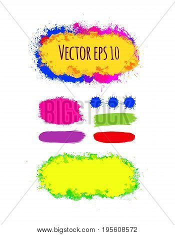 Set of painted grunge banners. Bright colorful ink vector stains isolated on white. Rainbow Colored backgrounds for design. Hand drawn vector illustration on black. Brush strokes vector.