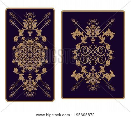 Vector template ornament for Tarot and playing cards