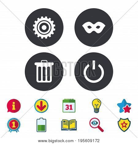 Anonymous mask and cogwheel gear icons. Recycle bin delete and power sign symbols. Calendar, Information and Download signs. Stars, Award and Book icons. Light bulb, Shield and Search. Vector