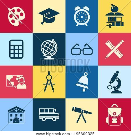 Digital vector red yellow blue school icons infographic with drawn simple line art, telescope map globe hat bell clock pen ruler book apple girl boy pupil brush calculator bus building bag, flat style