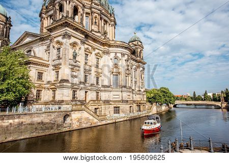 View on the famous Dom cathedral on the museum island during the morning in Berlin city