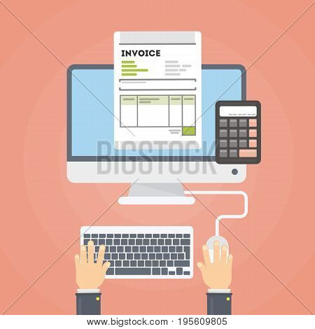 Invoice concept illustration. Invoice documents with hand with and calculator. Person checking finance.