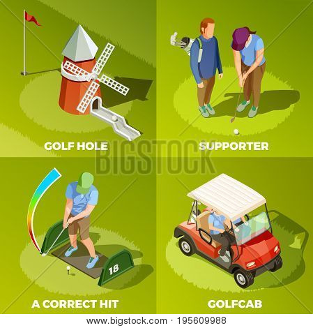 Golf 2x2 design concept with correct hit cabriolet supporter and golf hole isometric square compositions vector illustration