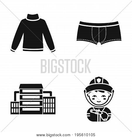fashion, oil refining and or  icon in black style.profession, clothing icons in set collection.