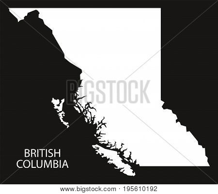 British Columbia Canada Map Black Inverted Silhouette Illustration Shape