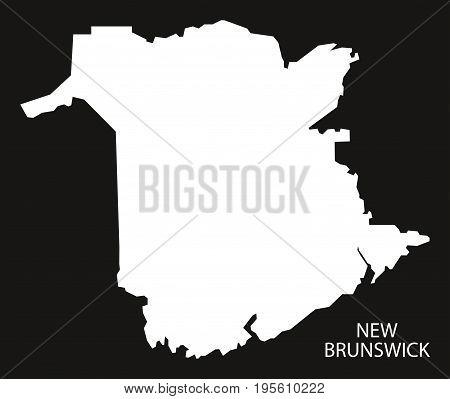 New Brunswick Canada Map Black Inverted Silhouette Illustration Shape