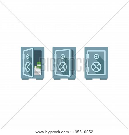 Flat safe vector illustration one safe indoor and two safes outdoor. Safe great. Wall safe