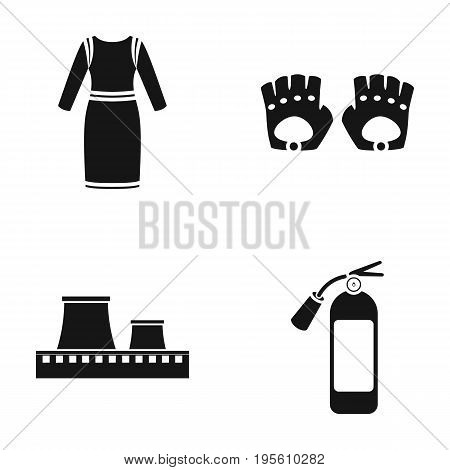 fashion, oil refining and or  icon in black style. sport, fireman icons in set collection. poster