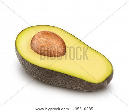 Half of ripe avocado with seed isolated on white background.