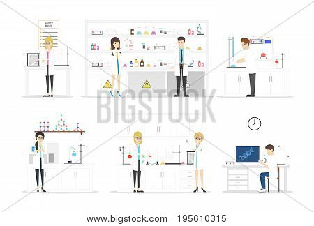 Isolated laboratory set on white background. Biologists and chemists developing new things.