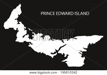 Prince Edward Island Canada Map Black Inverted Silhouette Illustration Shape
