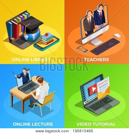 Online education isometric images composition with video tutorial electronic library conceptual images student and lecturers characters vector illustration