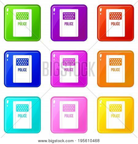 Riot shield icons of 9 color set isolated vector illustration