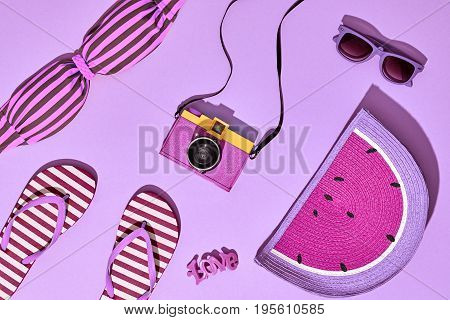 Beach Sunny Set. Fashion Summer Accessories, Film Camera, Stylish Swimsuit Bikini, Trendy Sunglasses, fashion Bag. Hot Vibes. Sweet Bright summer color. Creative Fun Art. Retro Design camera
