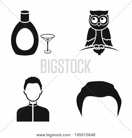 hairdresser, alcohol and or  icon in black style.animal, sportsman icons in set collection.