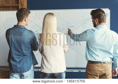 Two young men and woman standing face to flipchart. Bearded guy is pointing at important information on board and others are listening attentively folding hands. Focus on back