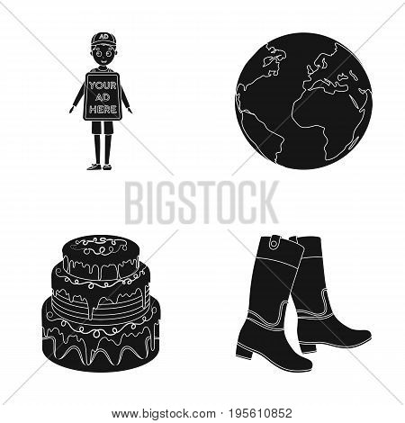 advertising, cooking and or  icon in black style.space, hippodrome icons in set collection.
