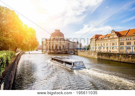 Beautiful riverside view on the Bode museum during the sunrise in Berlin city