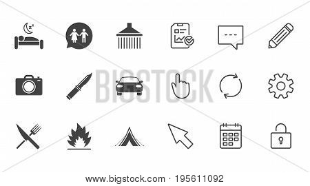 Hiking trip icons. Camping, shower and wc toilet signs. Tourist tent, fork and knife symbols. Chat, Report and Calendar line signs. Service, Pencil and Locker icons. Click, Rotation and Cursor. Vector