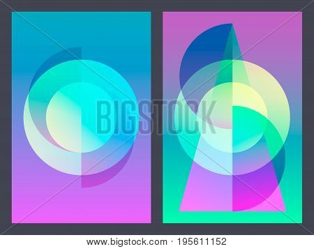 Poster with neon flat geometric pattern. Holographic colorful graphic backgrounds. Retro banner, flyer, leaflet, poster. Vector template.