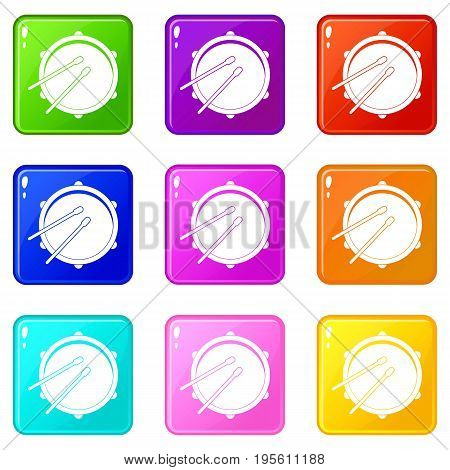 Drum icons of 9 color set isolated vector illustration