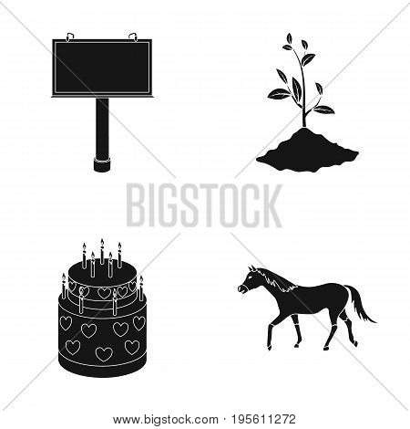feet, Plant growing and or  icon in black style.racecourse, advertising icons in set collection.
