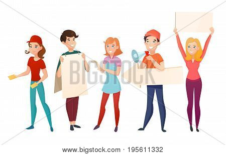Retail sales food industry and entertainment promoters cartoon characters people standing with blank advertising posters vector illustration