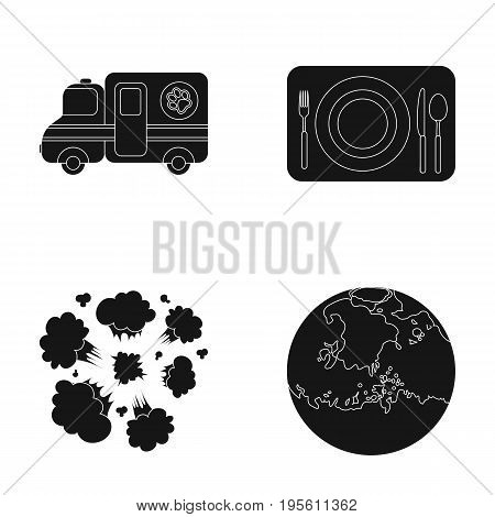 space, veterinary and or  icon in black style.war, service icons in set collection.