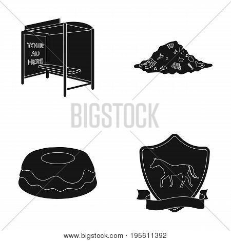 transport, ecology and or  icon in black style.racecourse, cooking icons in set collection.