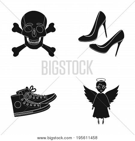 medicine, Sport and or  icon in black style.fashion, religion icons in set collection.