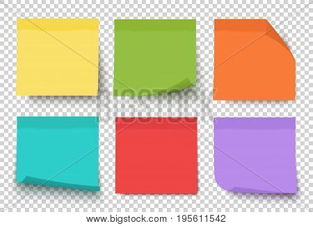Multicolor notes isolated on transparent background. Post it. Colored sticky note set. Vector realistic illustration. Sticky note collection with curled corners and shadows.