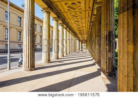 View on the beautiful colonnade of the national gallery during the morning light in Berlin city