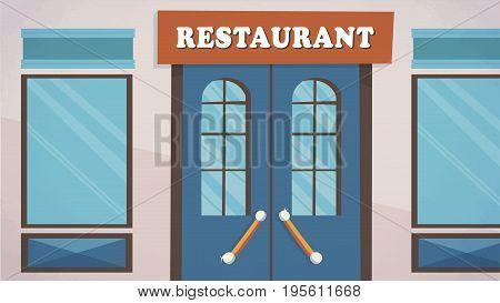 Restaurant facade entrance Vector for cartoon, animation, advertise, campaings