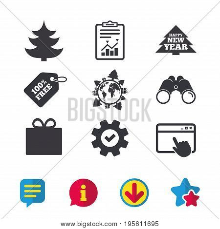 Happy new year icon. Christmas trees and gift box signs. World globe symbol. Browser window, Report and Service signs. Binoculars, Information and Download icons. Stars and Chat. Vector