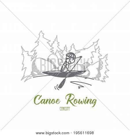 Canoe rowing concept. Hand drawn male athlete in a canoe rowing across lake. Sportsman in canoe isolated vector illustration.