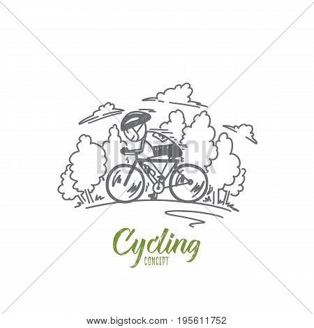 Cycling concept. Hand drawn man cycling road bike. Cyclist moving on bike isolated vector illustration.