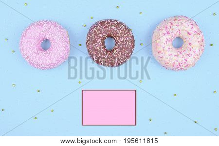 Donut covered with icing in white plate, top view on trendy blue background. Flat lay style.