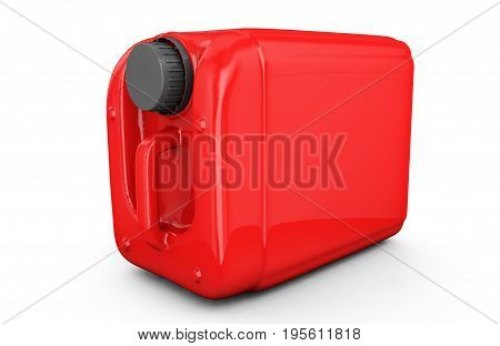 Red jerrycan isolated on white background 3d render