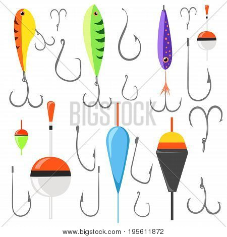 Fishing Bait. Fish Lure With Hook Flat Icons Isolated On White Background. Vector Illustration Web S