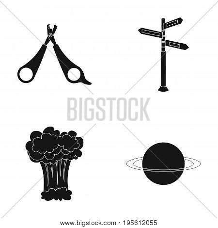 Cosmos, veterinary and or  icon in black style. medicine war, travels icons in set collection.