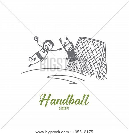 Handball concept. Hand drawn handball match scene with goalpost and players. Game with ball isolated vector illustration.