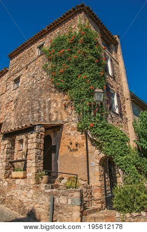 Les Arcs-sur-Argens, France. Close-up of stone house facade with bindweed at the gorgeous medieval hamlet of Les Arcs-sur-Argens. Provence region, Var department, southeastern France