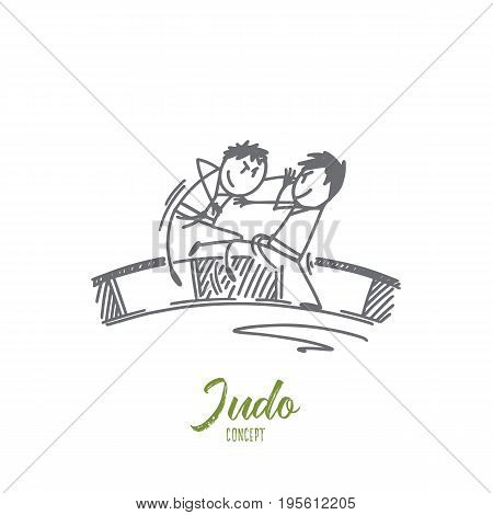 Judo concept. Hand drawn judo sport training in the sports hall. Fighters on the ring isolated vector illustration.