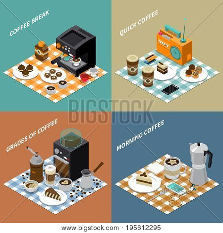Isometric design concept with grains drinks and sweets coffee maker grinder smartphone and radio isolated vector illustration