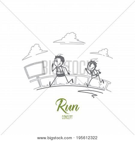 Runconcept. Hand drawn two runners sprinting outdoors. Marathon runners isolated vector illustration.
