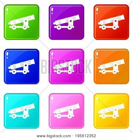Cannon icons of 9 color set isolated vector illustration