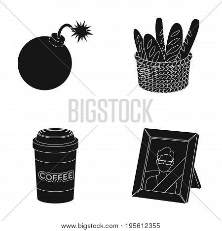 war, food and or  icon in black style.drink, mourning icons in set collection.